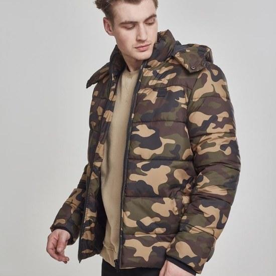 URBAN CLASSICS Winterjacke Hooded Camo Puffer woodcamo