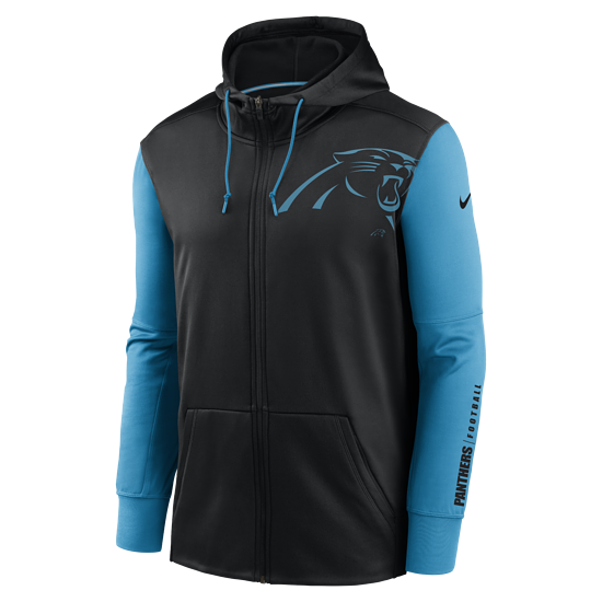 Nike Carolina Panthers Kapuzenjacke Therma Left Chest Mascot schwarz/tidal blue
