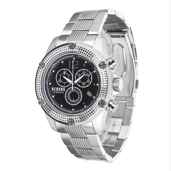 Versus by Versace Herrenuhr Chronograph AVENTURA Edelstahl Armband Silber