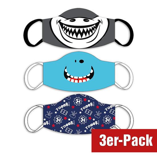 3er Set Mund-Nase Maske Kinder Buben gemischt