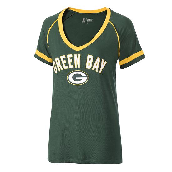 New Era Green Bay Packers T-Shirt V-Neck Damen grün