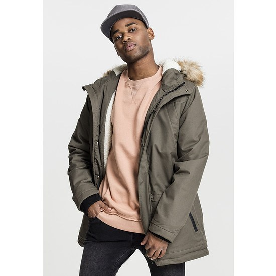 URBAN CLASSICS Parka Heavy Cotton Imitation Fur olive