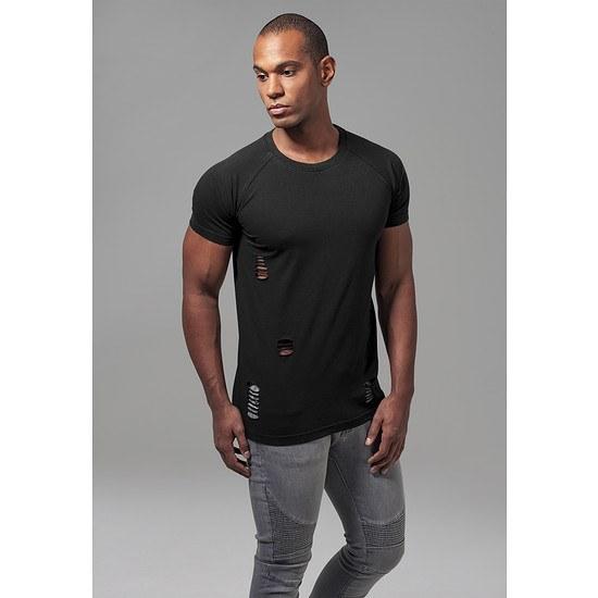 URBAN CLASSICS T-Shirt Ripped Raglan schwarz