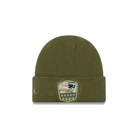 New Era New England Patriots Beanie Salute To Service 2019 oliv