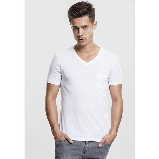 URBAN CLASSICS T-Shirt V-Neck Pocket Weiß