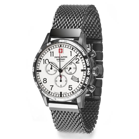 Swiss Alpine Military Herrenuhr Chronograph mit Milanaise-Armband Weiß/Schwarz