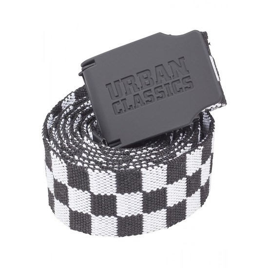 URBAN CLASSICS Gürtel UC Canvas Checkerboard schwarz/weiß
