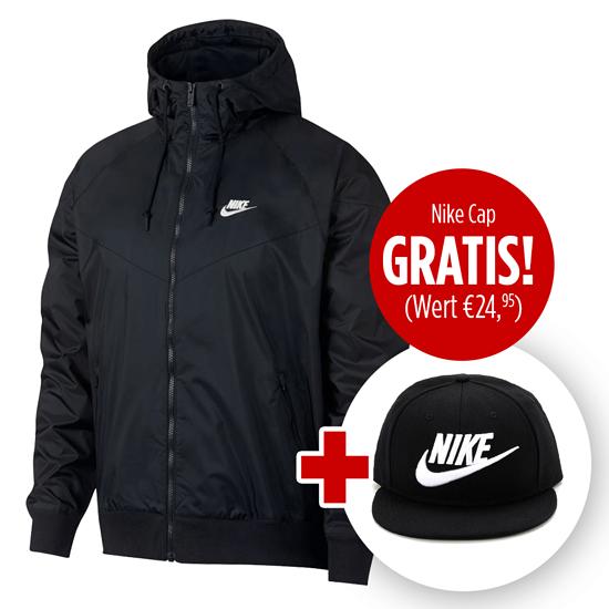 Nike Kapuzenjacke Windrunner mit Cap True Futura 2er Set Schwarz
