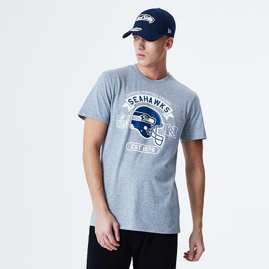 New Era Seattle Seahawks T-Shirt Graphic Helmet grau