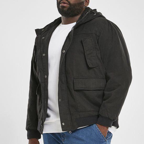 URBAN CLASSICS Winterjacke Hooded Cotton schwarz