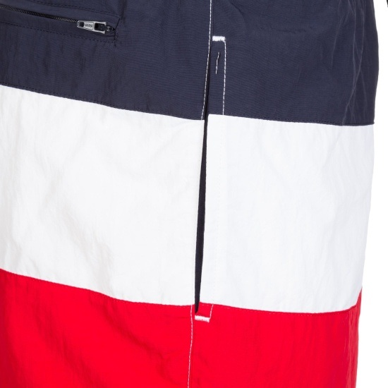 URBAN CLASSICS Schwimmshorts Color Block rot/navy/weiß