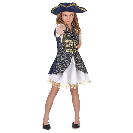 Karnevals- Kostüm Edle Piratenkönigin Kinder blau/weiß/gold