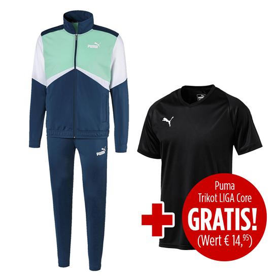 Puma Trainingsanzug Retro mit Trikot Liga Core 2er Set blau/schwarz