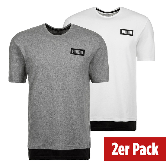 Puma T-Shirt New Rebel 2er Set Weiß/Grau