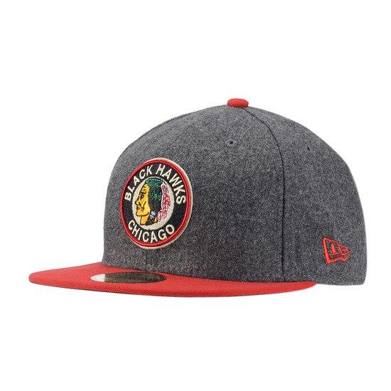 New Era Chicago Blackhawks Cap Melton Basic Team grau/rot