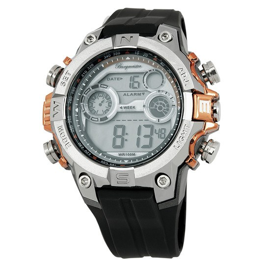 Burgmeister Herren Quarzuhr Digital Power schwarz/orange