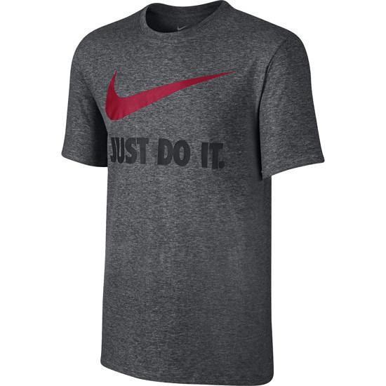 Nike T-Shirt Just Do It Swoosh Dunkelgrau/Rot
