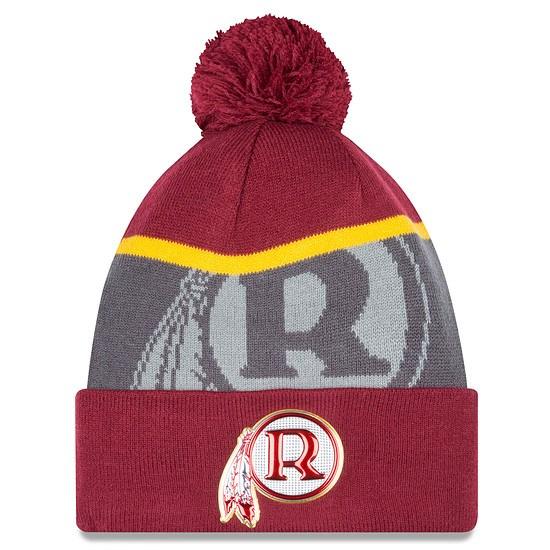 New Era Washington Redskins Bommelmütze Gold Knit rot