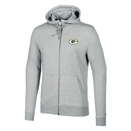 New Era Green Bay Packers Full-Zip Hoodie Number grau
