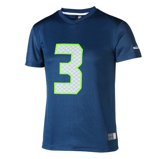 Majestic Athletic Seattle Seahawks PolyMesh T-Shirt Wilson Nr 3 blau