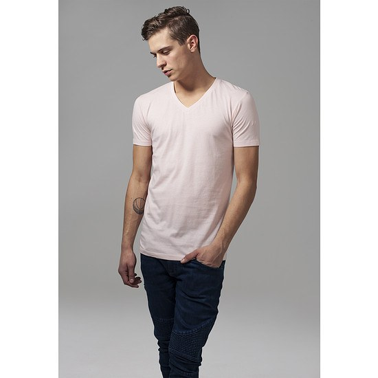 URBAN CLASSICS T-Shirt Basic V-Neck pink