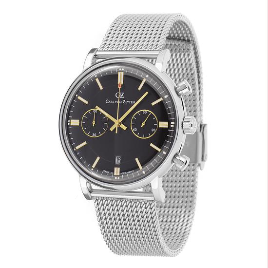 Carl von Zeyten Herrenuhr Quarz Uhr Bühlot Armband Edelstahl Silber