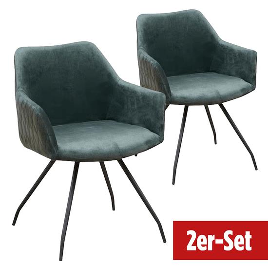 BREAZZ Stuhl Neola Velvet 2er Set grün