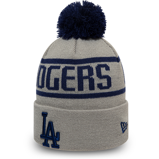 New Era Los Angeles Dodgers Beanie Bobble Knit grau/schwarz