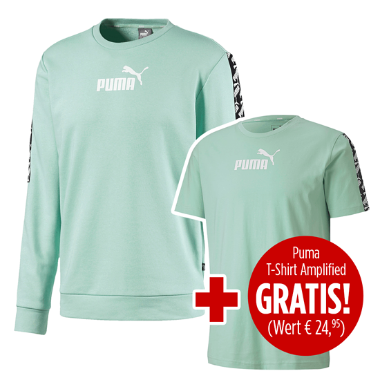 Puma Sweatshirt Amplified mit T-Shirt Amplified 2er Set mintgrün
