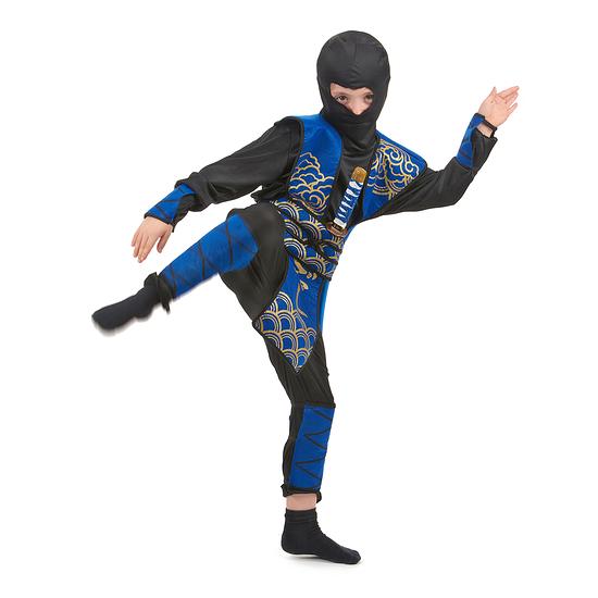 Karnevals- Kostüm Gefährlicher Ninja Kinder schwarz/blau