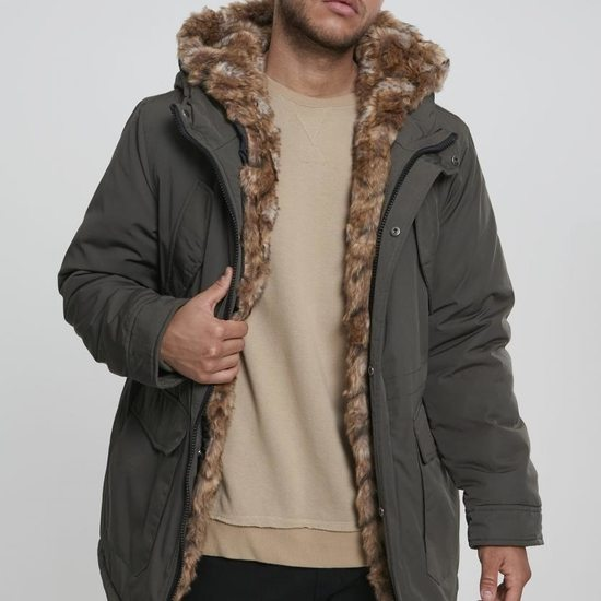 URBAN CLASSICS Parka Faux Fur Hooded oliv