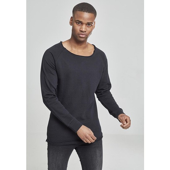 URBAN CLASSICS Sweatshirt Long Open Edge Terry Schwarz