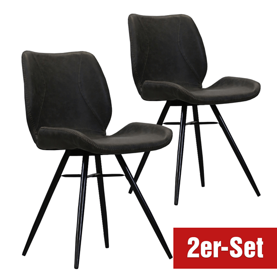 BREAZZ Stuhl Lurenz 2er Set anthrazit