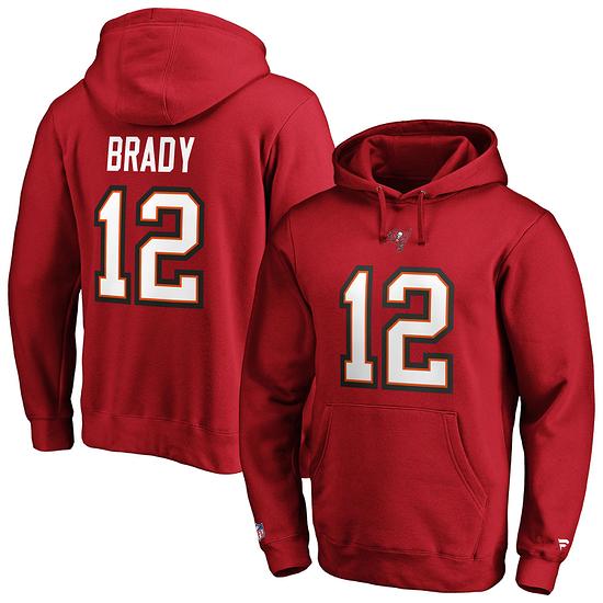 Fanatics Tampa Bay Buccaneers Hoodie Iconic N&N Brady No 12 rot