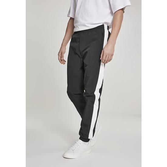 URBAN CLASSICS Freizeithose Side Striped Crinkle schwarz/weiß