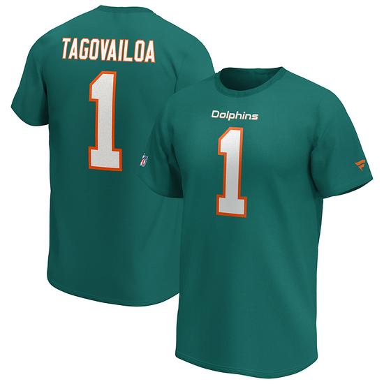 Fanatics Miami Dolphins T-Shirt Iconic N&N Tagovailoa No 1 aqua