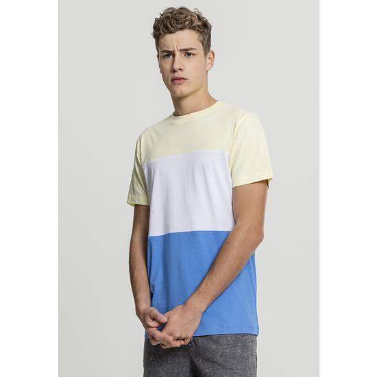 URBAN CLASSICS T-Shirt Color Block blau/gelb/weiß