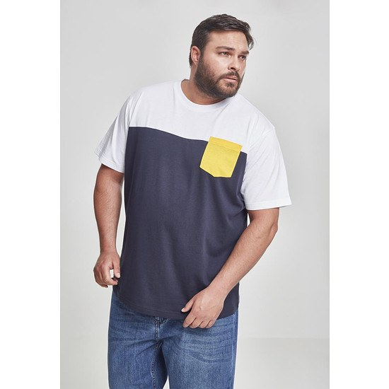 URBAN CLASSICS T-Shirt T-Shirt 3-Tone Pocket navy/weiß/gelb