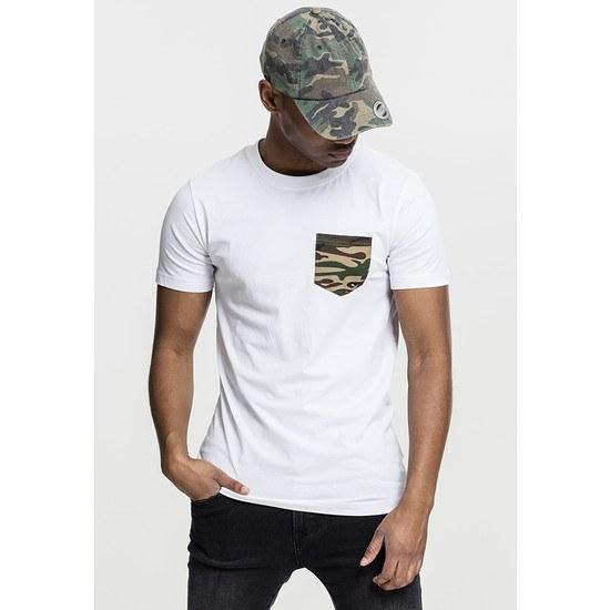 URBAN CLASSICS T-Shirt Camo Pocket Weiß/Camouflage