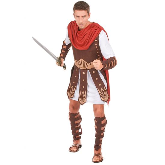 Karnevals- Kostüm Gladiator Römer braun/weiß/rot