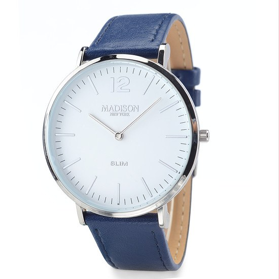 MADISON NEW YORK Herrenuhr Slim Silber/Schwarz