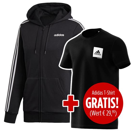 Adidas Zip Hoodie 3S FL inkl. T-Shirt Confidential gratis Schwarz