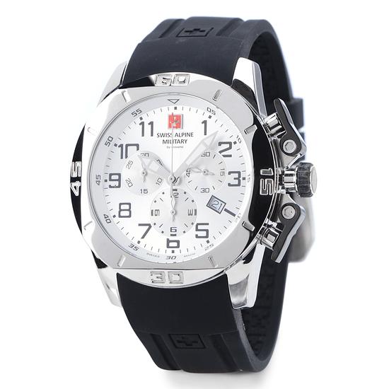 Swiss Alpine Military Herrenuhr Chronograph mit Silikonarmband Weiß/Schwarz