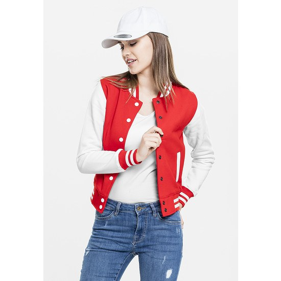 URBAN CLASSICS Collegejacke 2-Tone Sweat Damen Rot/Weiß