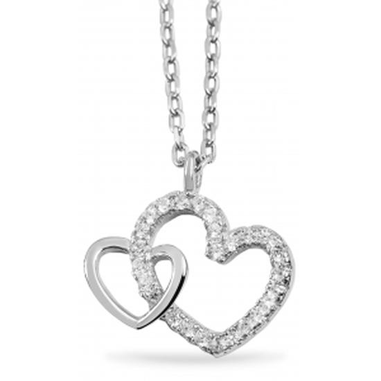 Akzent Damen Kette (42-45 cm) mit Herz in Herz Anhänger Echt Silber Silber