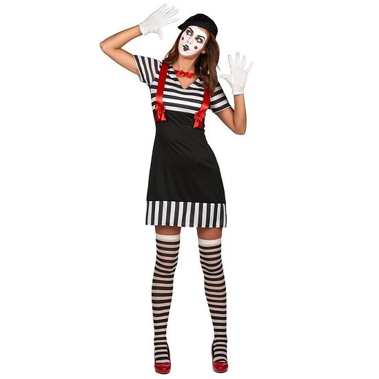 Karnevals- Kostüm Pantomime Damen schwarz/weiß