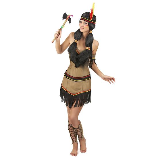 Karnevals- Kostüm Indianerin Damen beige/schwarz/rot