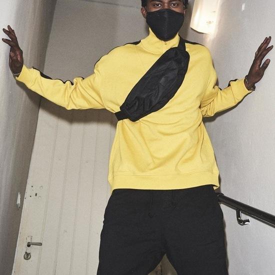 URBAN CLASSICS Sweatshirt Oversize Troyer gelb/schwarz