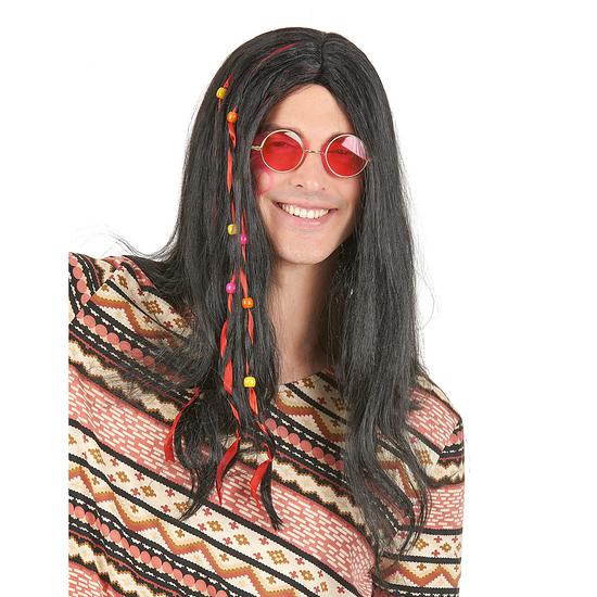 Karnevals- Perücke Hippie 60er Jahre mit Haarschmuck schwarz