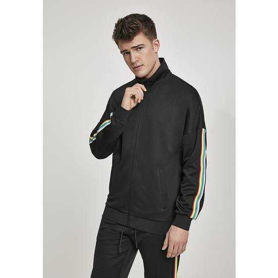 URBAN CLASSICS Trackjacke Sleeve Taped schwarz/bunt